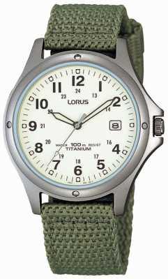 Lorus Męski zegarek analogowy z zielonego płótna RXD425L8