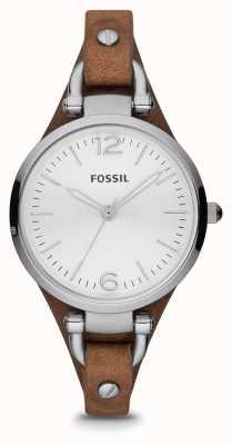 Fossil Zegarek ze skóry brązowej ze stali nierdzewnej ES3060