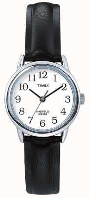 Timex Oryginalny czarny skórzany pasek z łatwym w czytaniu T20441