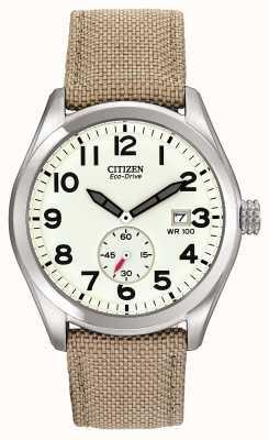 Citizen Męski zegarek z płóciennym paskiem Eco-Drive BV1080-18A