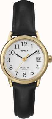 Timex Zegarek damski biały czarny skórzany pasek T2H341