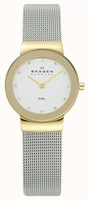 Skagen Damski zegarek ze złotym odcieniem srebrnej siatkowej bransoletki 358SGSCD