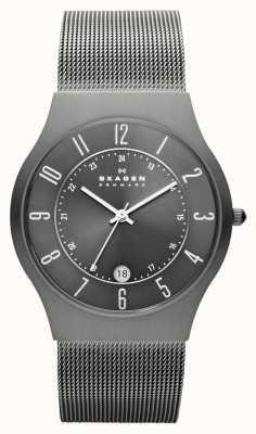 Skagen Męski, szary, siatkowy zegarek z siatką 233XLTTM