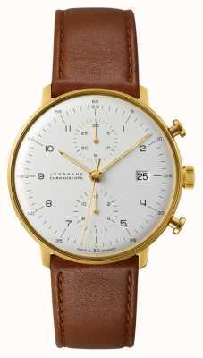 Junghans Brązowy skórzany pasek z chronografem Max Bill 027/7800.04