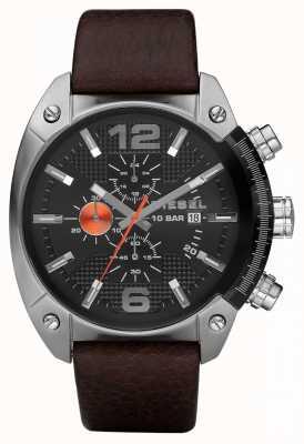 Diesel Męski czarny okrągły pasek chronografu z brązowym skórzanym paskiem DZ4204