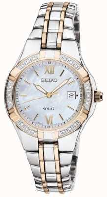 Seiko Zegarek damski zegarek słoneczny | pasek ze stali nierdzewnej | SUT068P9