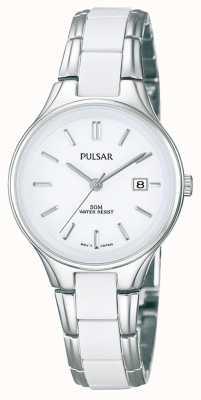 Pulsar Zegarek damski biały ceramiczny i ze stali nierdzewnej PH7267X1