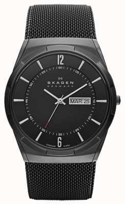 Skagen Męski czarny tytanowy zegarek z czarnym tytanowym aktorem SKW6006