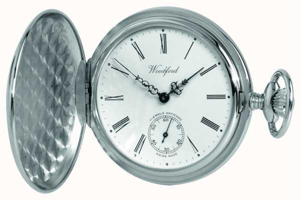 Woodford Zegarek kieszonkowy mechaniczny z białym zegarem chromowym 1061