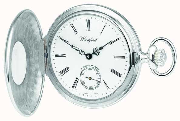 Woodford Zegarek kieszonkowy mechaniczny ze srebrnym otworem, z białym pokrętłem 1068