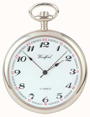 Woodford | otwarta twarz | chromowany | zegarek kieszonkowy | 1023
