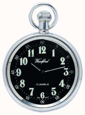 Woodford Mechaniczny zegarek kieszonkowy z czarnej tarczy ze stali nierdzewnej 1040