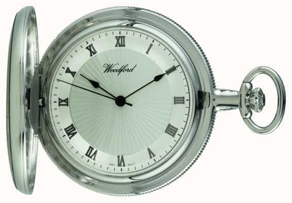Woodford Mechaniczny kieszonkowy zegarek kieszonkowy z chromowanego srebrnego tarczy 1054