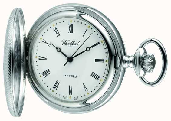 Woodford Mechaniczny kieszonkowy zegarek kieszonkowy z białym tarczowym chromem 1055