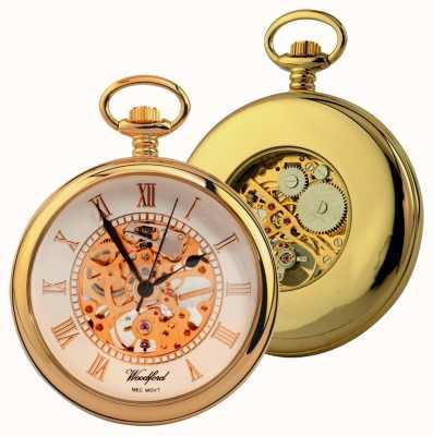 Woodford Zegarek kieszonkowy z odkrytą twarzą w kształcie złotej białej tarczy 1030