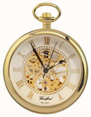 Woodford | otwarta twarz | pozłacane | szkielet | zegarek kieszonkowy | 1030