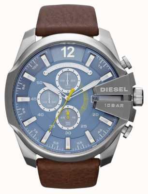 Diesel Męski mega główny niebieski tarczowy chronograf z brązowym paskiem DZ4281