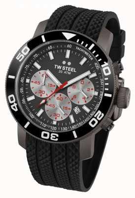 TW Steel Mens szary wybierania czarny pasek gumowy chronograf TW705