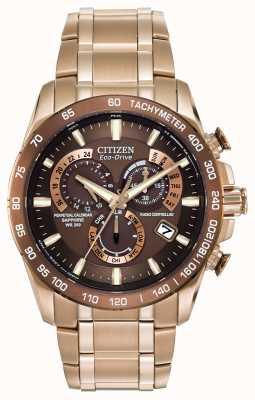 Citizen Męski wieczny chronograf ze złotej blachy ze stali nierdzewnej AT4106-52X