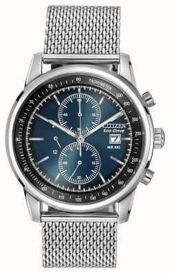 Citizen Zegarek chronograf ze stali nierdzewnej z ciemnoniebieskim wykresem CA0331-56L