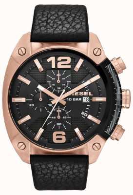 Diesel Męskie przepełnienie różowo-złoty czarny zegarek czarny skórzany pasek DZ4297