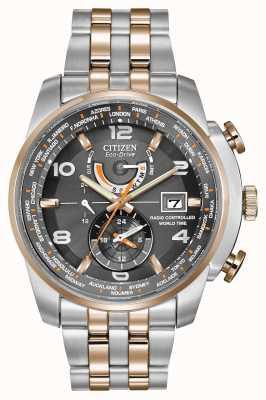 Citizen Męski czas na świecie chroniony dwukolorowym chronografem z szarą tarczą AT9016-56H