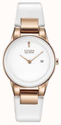 Citizen Damski zegarek ze skóry aksjomatycznej z białego złota GA1053-01A