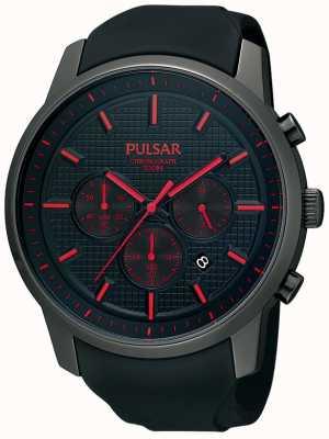 Pulsar Męski, czarny, jonowo-czerwony zegarek z gumowym paskiem PT3195X1