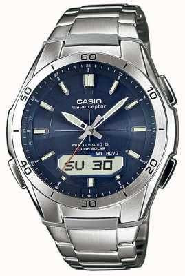 Casio Męski zegarek z niebieskiej tarczy ze stali nierdzewnej WVA-M640D-2AER