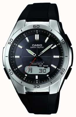 Casio Męski zegarek z czarnym gumowym paskiem ze stali nierdzewnej WVA-M640-1AER