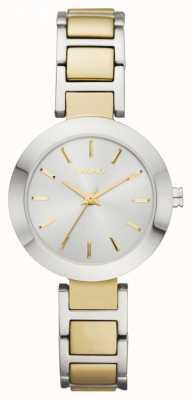 DKNY Damski dwubarwny bransoletowy zegarek z okrągłym pokrętłem NY2401