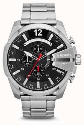 Diesel Męski mega szef czarny zegarek ze stali nierdzewnej DZ4308