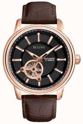 Bulova Męski automatyczny zegarek ze złotym złotym paskiem 97A109