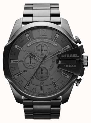 Diesel Męski mega wodzowski czarny stalowy zegarek DZ4282