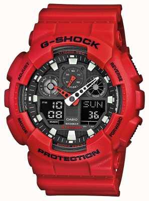 Casio Męski czerwony wielofunkcyjny zegarek z żywicy GA-100B-4AER