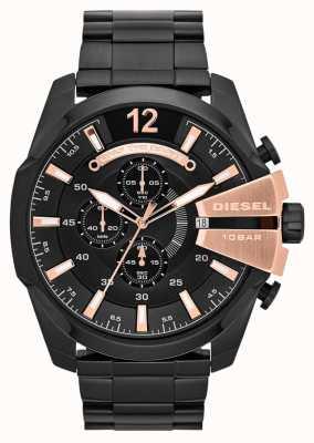 Diesel Męskie mega główne czarne płyty jonowe i zegarek z różowego złota DZ4309