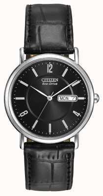 Citizen Męski czarny skórzany pasek eco-drive BM8240-03E