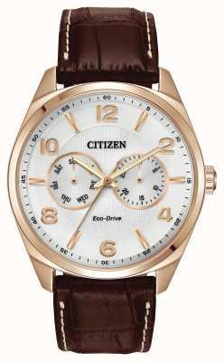 Citizen Męski zegarek z różowego złota z brązowym wykręcanym skórzanym paskiem AO9023-01A