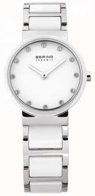 Bering Biały zegarek ceramiczny, stalowy, kryształowy 10729-754
