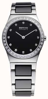 Bering Damska czarna ceramika, stal, kryształowy zegarek 32430-742