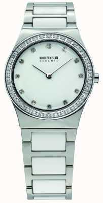 Bering Damski biały ceramiczny, kryształowy zegarek 32430-754
