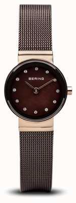 Bering Zegarek damski z brązowej, klasycznej siateczki 10122-265