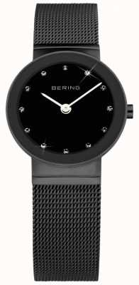 Bering Damska czarna stal Ip, czarna tarcza, kryształ 10126-077