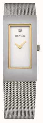 Bering Siatkowy pasek, stal, biała tarcza, złoty akcent 10817-004