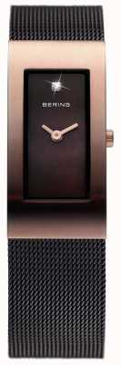 Bering Damski czarny ip, siatkowy pasek, różowe złoto 10817-262