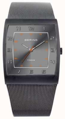 Bering Męskie tytanowe, kwadratowe pokrętło, zegarek z siatki 11233-077