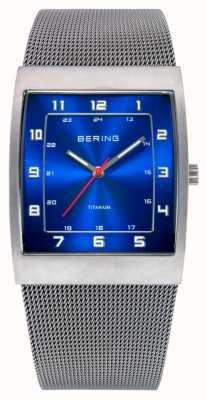 Bering Męski, stalowy, kwadratowy niebieski zegarek 11233-078