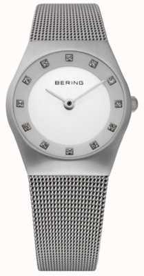 Bering Minimalistyczny zegarek dla kobiet | bransoleta z siatki ze stali nierdzewnej | 11927-000