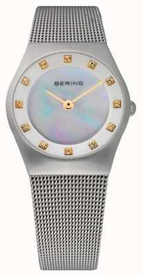 Bering Damska tarcza z masy perłowej | pasek ze stali nierdzewnej | 11927-004