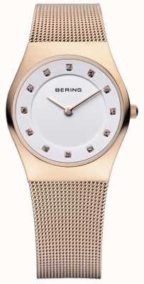Bering Zegarek damski klasyczny, z różowego złota, z kryształkami 11927-366